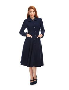 Collectif Lillian 40s 50s Princess Style Navy Blue Coat