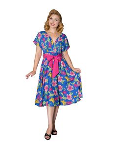 Sheen Rachel 40 50s Blue Orchid Print Full Circle Dress