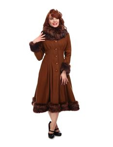 Collectif 30s 40s 50s Tan Brown Pearl Swing Coat