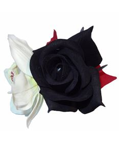 Minx's Pin Up Hawaiian Rockabilly Black Rose and Orchid Hair Clip