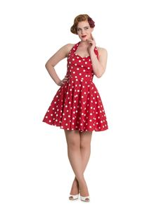 Hell Bunny Nicky Polka Dot Halter Neck Mini Dress