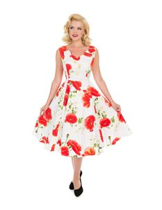 Hearts & Roses 50s Retro White Opium Poppy Floral Dress