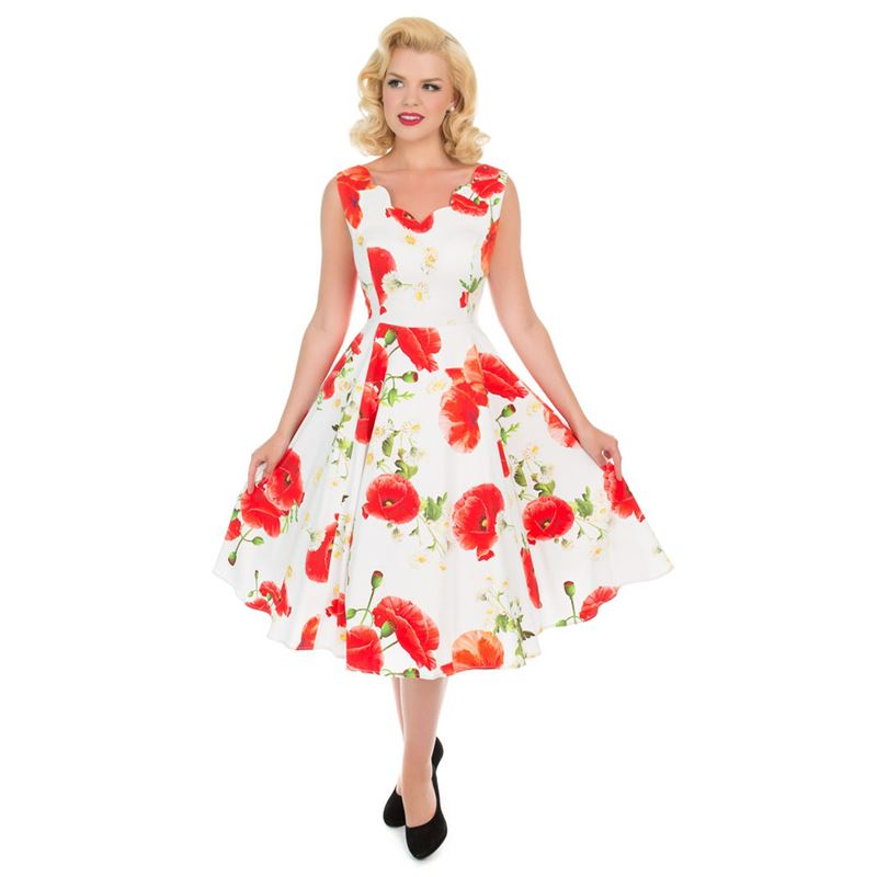 8fd8be16a9 Hearts & Roses 50s Retro White Opium Poppy Floral Dress