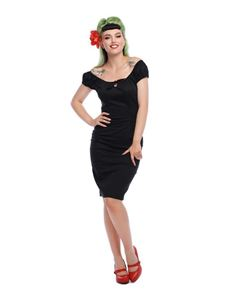 Collectif Lorena 50s Style Black Pencil Dress