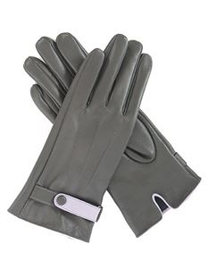 Powder Brooklyn Leather Gloves In Charcoal & Lilac