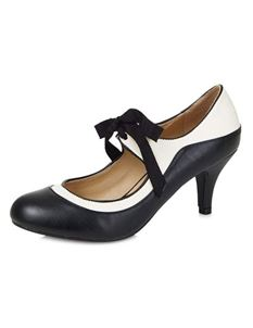 Collectif Jeanie 50s Black White High Heeled Shoes