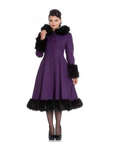 Hell Bunny - Elvira Purple Coat with Faux Fur Trim