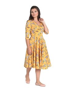 Hell Bunny Muriel 50s Style Floral Mustard Dress
