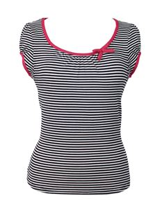 Friday On My Mind Sailor Black & White Striped Top