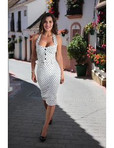 Collectif Wanda White Polka Dot Halterneck Pencil Dress