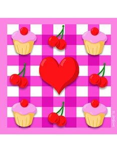 Snugbat Cherry Cupcakes Greetings Card