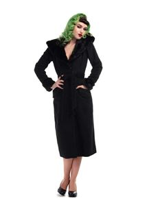 Collectif Carmella 50s Black Fur Collar Pencil Coat