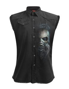 Spiral Direct Mens Bio Skull Stone Washed Work Shirt