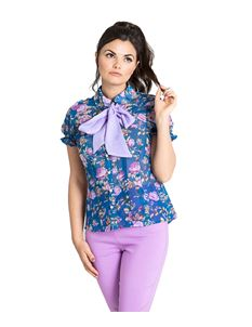 Hell Bunny Violetta Floral Removable Bow Blouse Top