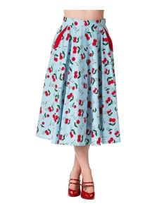 Banned 50s Blindside Cherry Rockabilly Skirt Blue