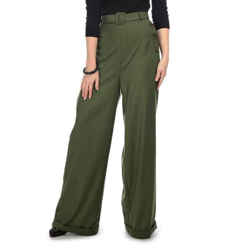 Collectif Gertrude 40s Green High Waisted Trousers
