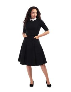 Collectif Winona 40s 50s Black White Office Swing Dress