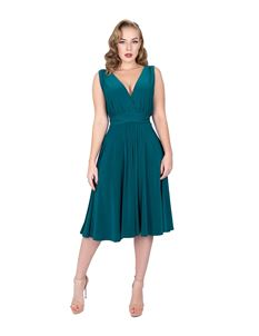 Zoe Vine - Emerald Deep Plunge Dress