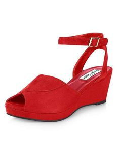Collectif Simona Red Suede Wedge Sandals
