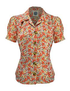 Pretty Retro 40s Style Orange Ditsy Floral Blouse