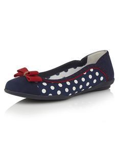 Ruby Shoo Lizzie Navy Polka Dot Flats With Red Accents
