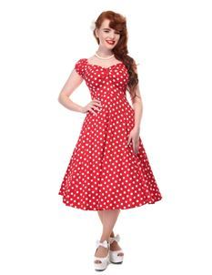 Collectif Dolores 50s Style Red and White Polka Dot Doll Dress