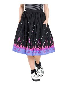 Hell Bunny Pinball Flames Rockabilly 50s Style Skirt