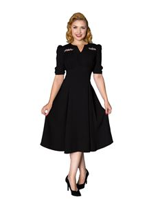 Sheen Wanda WW11 1940s Style Black Evening Dress