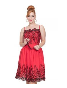 Voodoo Vixen Scarlett Red Embroidered Dress