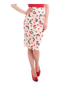 Collectif Fiona 50's Cherry Print Skirt in Ivory/Red