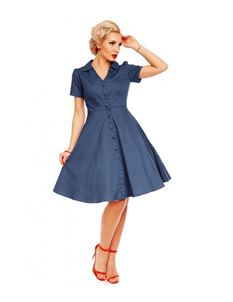 Dolly & Dotty Janie 50s Blue Rockabilly Shirt Tea Dress