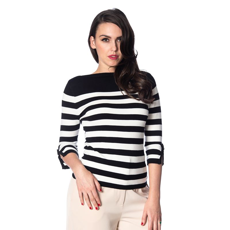 Banned Retro Sail Away 50s Striped Nautical Jumper