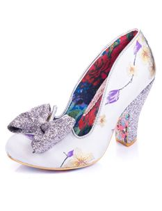Irregular Choice Nick of Time Silver Lilac Blossom Heel