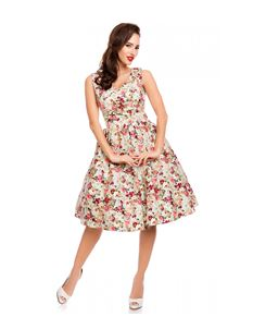 Dolly & Dotty V Neck Cotton Swing Dress