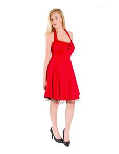 Bettie Vintage 50s Rockabilly Red Polka Dot Mini Dress