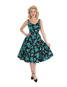 H&R London Black Rosaceae 50s Style Floral Dress