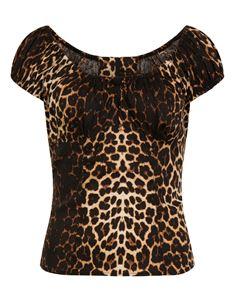 Hell Bunny Uma Leopard Print 50s Gypsy Rockabilly Top
