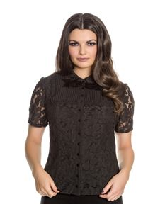 Spin Doctor Rowena Gothic Lace Alternative Black Top