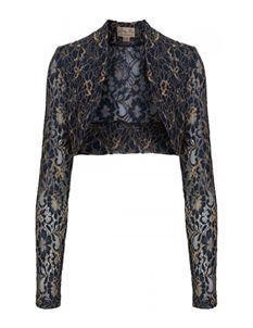 Lindy Bop Midnight Blue And Gold Lace Shrug UK 20-22