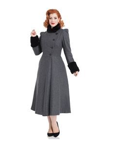 Voodoo Vixen Grey Violet Fur Trim Dress Coat