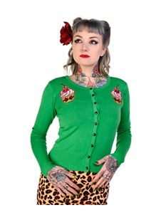Banned Ladies Rockabilly 50's Cupcake Cherry Cardigan Green