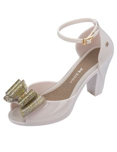Zaxy Diva Bow2 Cream Heels Ankle Strap Gold Glitter Bow