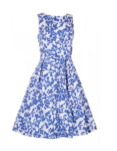 Dolly & Dotty Annie 50s White & Blue Floral Dress 8-24