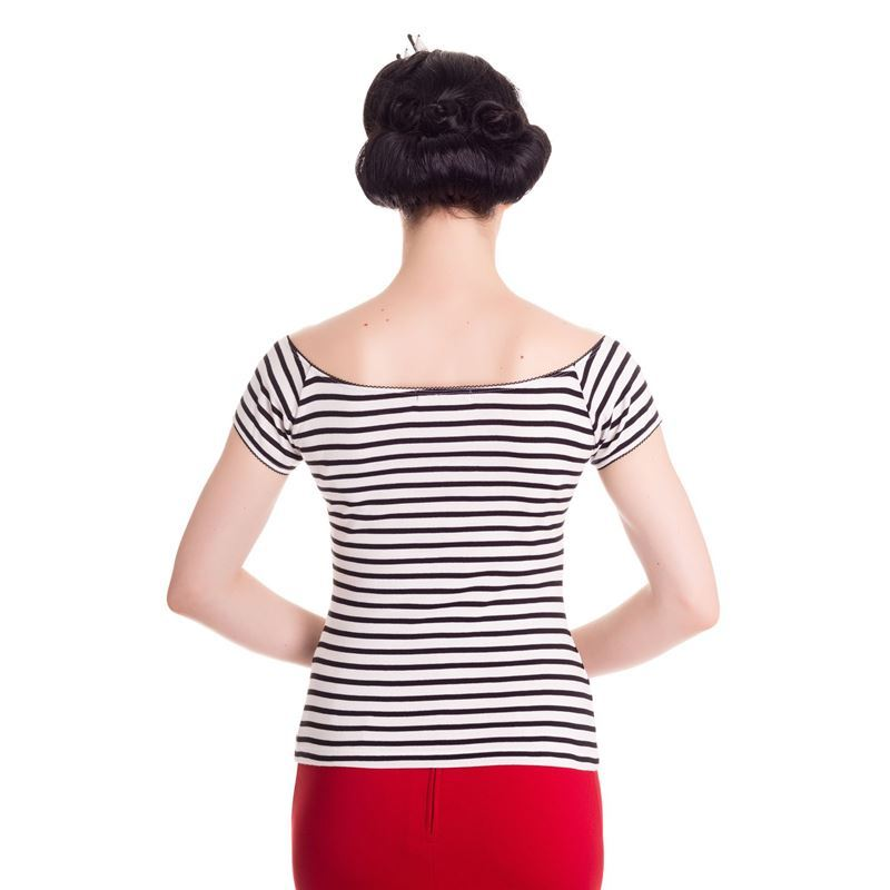 Hell Bunny 50s Style Dolly Stripe Jersey Top