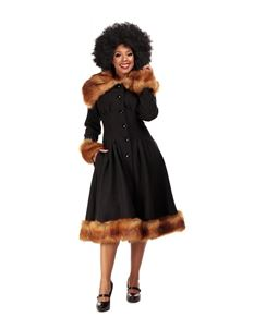 Collectif 30s 40s 50s Pearl Black Faux Fur Swing Coat