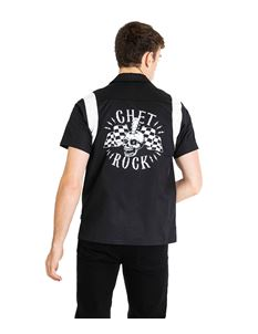 Chet Rock Guitar Head Mens Retro Style Bowling Shirt