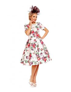 Dolly & Dotty Darlene White Floral 50's Swing Dress