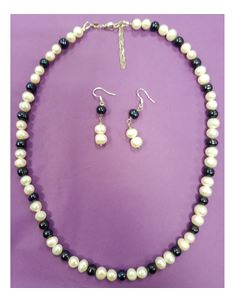 Hand Made Real Freshwater Pearl Balck & White Set