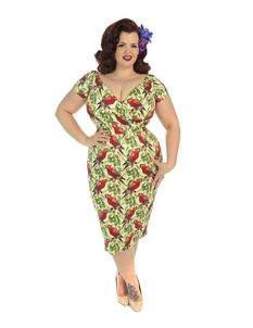 Lady Voluptuous 50s Ursula Green Parrots Wiggle Dress
