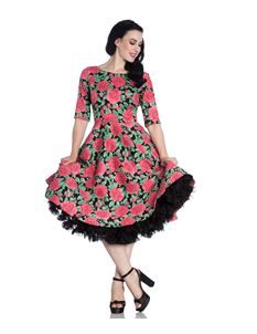 Hell Bunny Darcy Pink Rose 50s Style Floral Dress